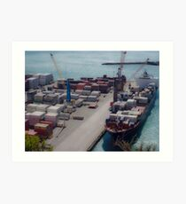 Cargo Ship In Port Art Print