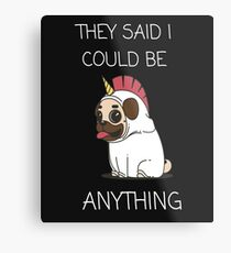Cute dog unicorn design Metal Print