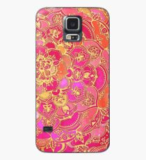 Hot Pink and Gold Baroque Floral Pattern Case/Skin for Samsung Galaxy