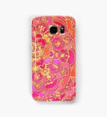 Hot Pink and Gold Baroque Floral Pattern Samsung Galaxy Case/Skin