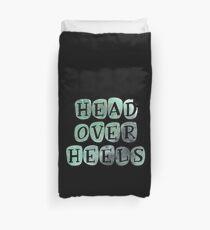 Pastel 'Head Over Heels' Typography Design Duvet Cover