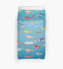 20 Shark Species Size Chart Duvet Cover