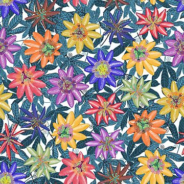 Pattern 79 - Passion Flowers (Blue)  by IreneSilvino