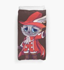Red Mage Fantasy Cat  Duvet Cover