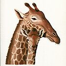 Giraffe family wildlife illustration painting by LindaAppleArt