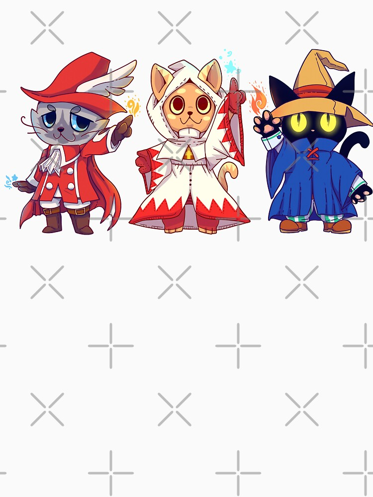 Red White Black Mage Cat Group by TechraNova