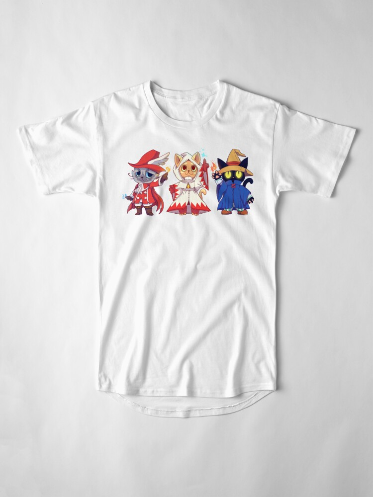 Alternate view of Red White Black Mage Cat Group Long T-Shirt