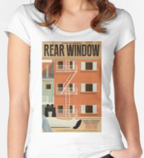 Rear Window alternative movie poster Women's Fitted Scoop T-Shirt