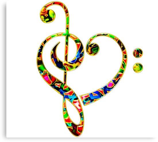 Lienzos Música De Latido Del Corazón Clave De Sol Corazón Clave