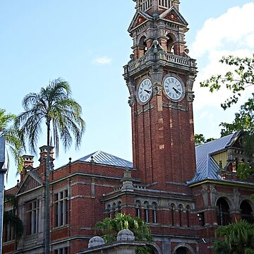 Red brick clock tower by kllebou