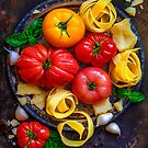 still life with heirloom tomatoes and pasta by alan shapiro