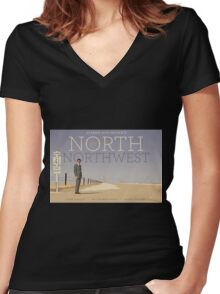 North by Northwest alternative movie poster Women's Fitted V-Neck T-Shirt