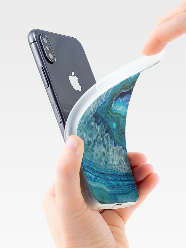 Alternative Ansicht von Aquamarines Aqua-Türkis-Blau-Felsen-Achat-Mineralkristall-Muster iPhone-Hülle & Cover