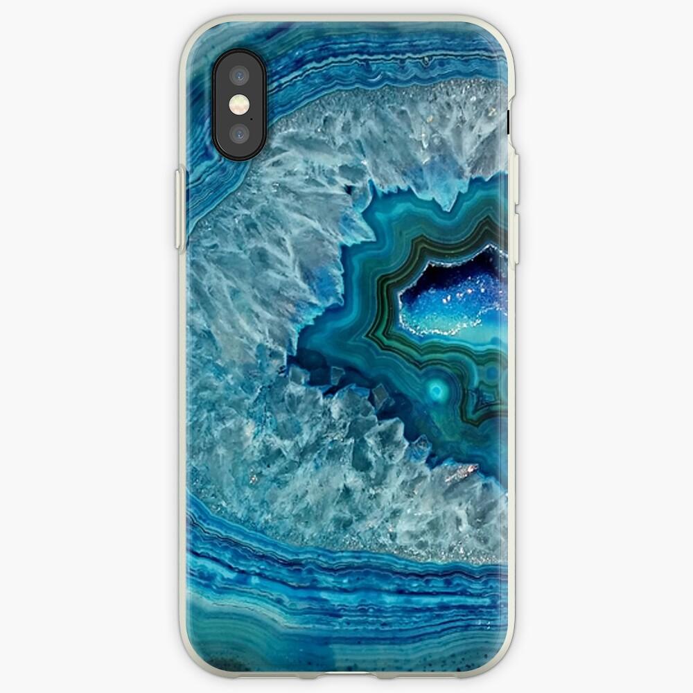 Aquamarines Aqua-Türkis-Blau-Felsen-Achat-Mineralkristall-Muster iPhone-Hülle & Cover