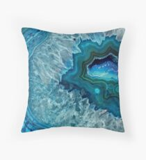 Pretty Teal Aqua Turquoise Geode Crystals Pattern Throw Pillow