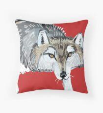Totem Hokkaido grey wolf (Red) Cojín