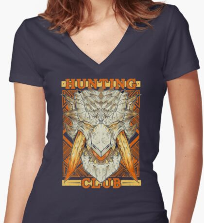 Hunting Club: Barioth Women's Fitted V-Neck T-Shirt