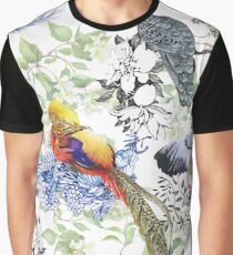 Wild Pheasant animals birds in watercolor floral seamless pattern Graphic T-Shirt