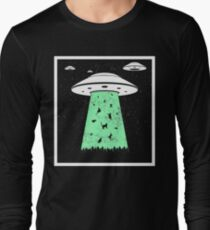 Cat Ufo Funny Cats Alien Outer Space Sci-Fi Gift Long Sleeve T-Shirt