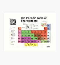Periodic Table of Shakespeare [old version] Art Print