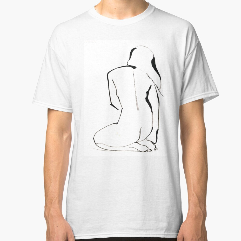 Nude Model Pose Drawing Classic T-Shirt