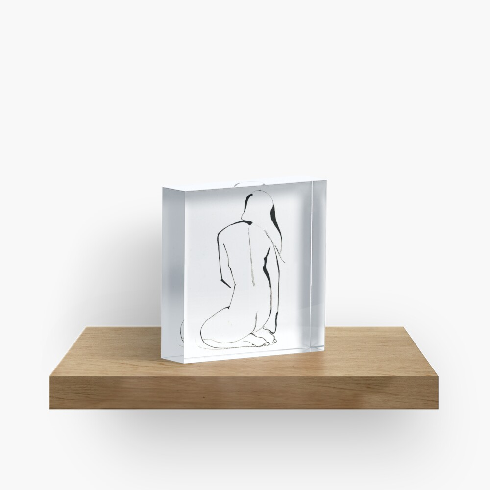 Nude Model Pose Drawing Acrylic Block