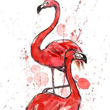 Watercolor flamingos  by KaylaPhan