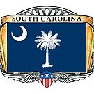 South Carolina Art Deco Design with Flag by Cleave