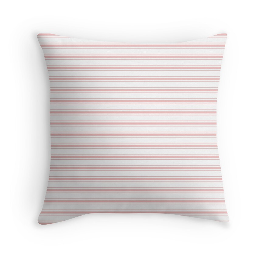 Wide Blush Pink and White Mattress Ticking Stripes