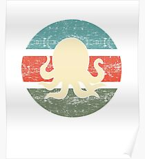 Retro Style Octopus  Poster