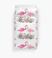 Pink Flamingo Watercolor painting with Protea, Hibiscus and Palms Duvet Cover