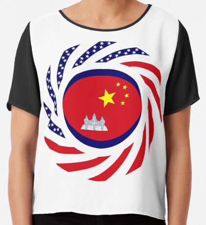 Chinese/Cambodian American Multinational Patriot Flag Series Chiffon Top