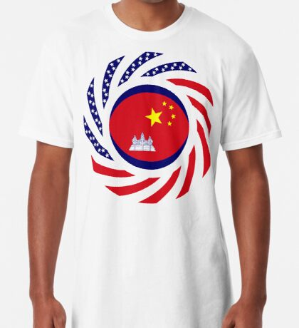 Chinese/Cambodian American Multinational Patriot Flag Series Long T-Shirt