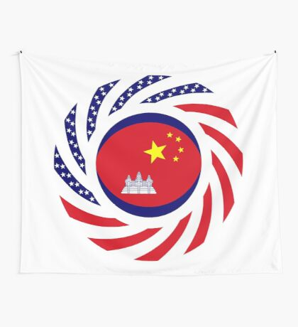 Chinese/Cambodian American Multinational Patriot Flag Series Wall Tapestry