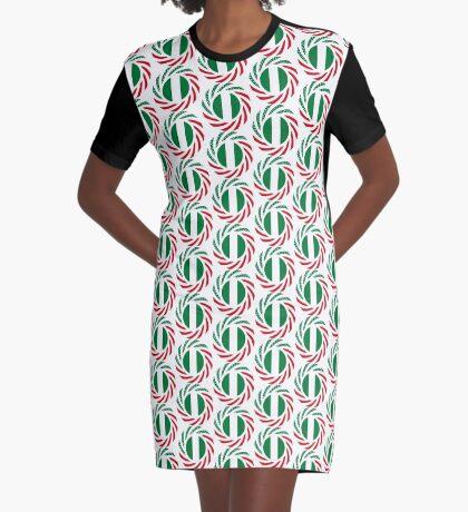 Nigerian American Multinational Patriot Flag Series Graphic T-Shirt Dress