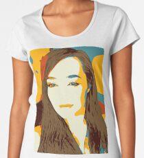 Abstract illustration of a girl. Pop art illustration of a smiling girl Women's Premium T-Shirt