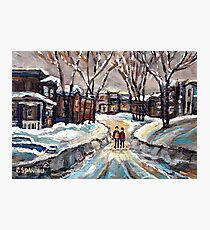 CANADIAN URBAN SCENE PAINTINGS MONTREAL AFTER THE SNOWSTORM ORIGINAL PAINTING FOR SALE Photographic Print