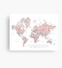Inspirierende Aquarellweltkarte mit Städten in staubigem Rosa und Grau Leinwanddruck