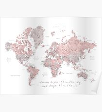 Inspirational watercolor world map with cities in dusty pink and grey Poster