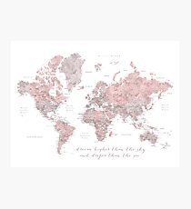 Inspirational watercolor world map with cities in dusty pink and grey Photographic Print