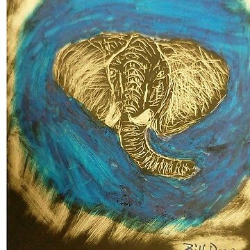Bull Elephant - Scratchboard by BillDrew