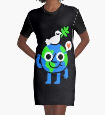 World Peace & Love Graphic T-Shirt Dress