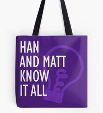 Han and Matt Logo Purple Tote Bag