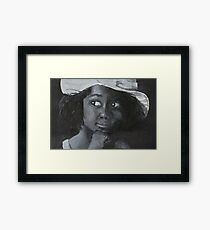 Little Black Girl Looking Through Window Framed Print