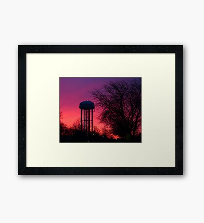 Twilight Water Tower Framed Print