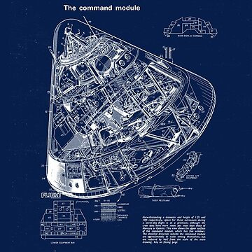 Apollo Command Module Blueprint Drawing by DWS-Store