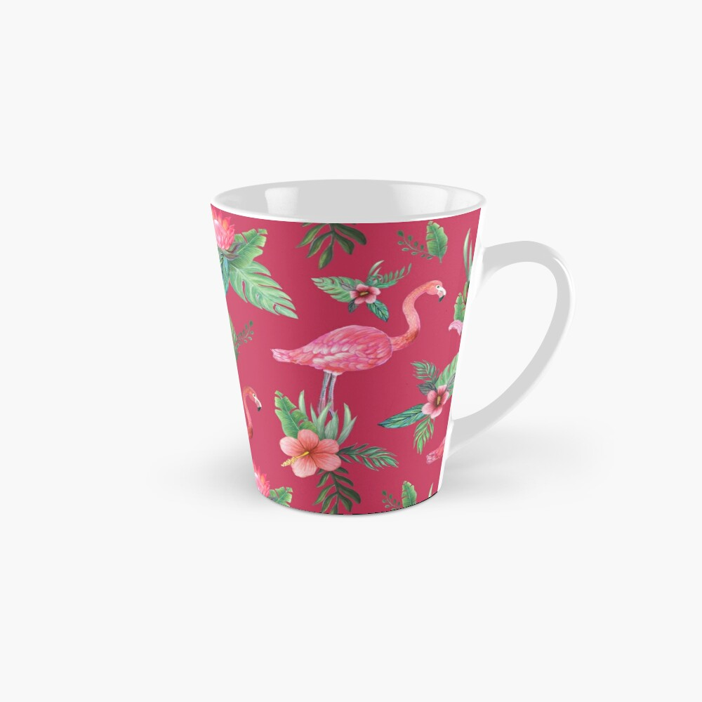Flamingo Watercolor painting with Protea, Hibiscus and Palms Tall Mug