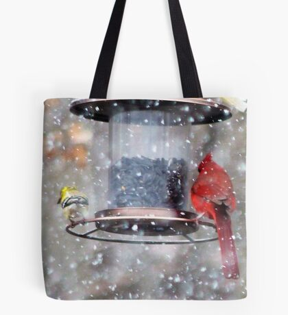 Goldfinch and Cardinal at Feeder Tote Bag
