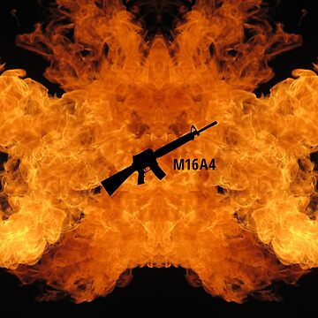 M16A4 assault rifle in flames. As seen in PUBG by Moolversin
