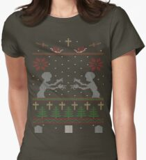 UGLY BUFFY CHRISTMAS SWEATER Women's Fitted T-Shirt